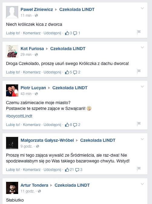 Niektóre zpostów, które pojawiły się naoficjalnym fanpage'u Lindta