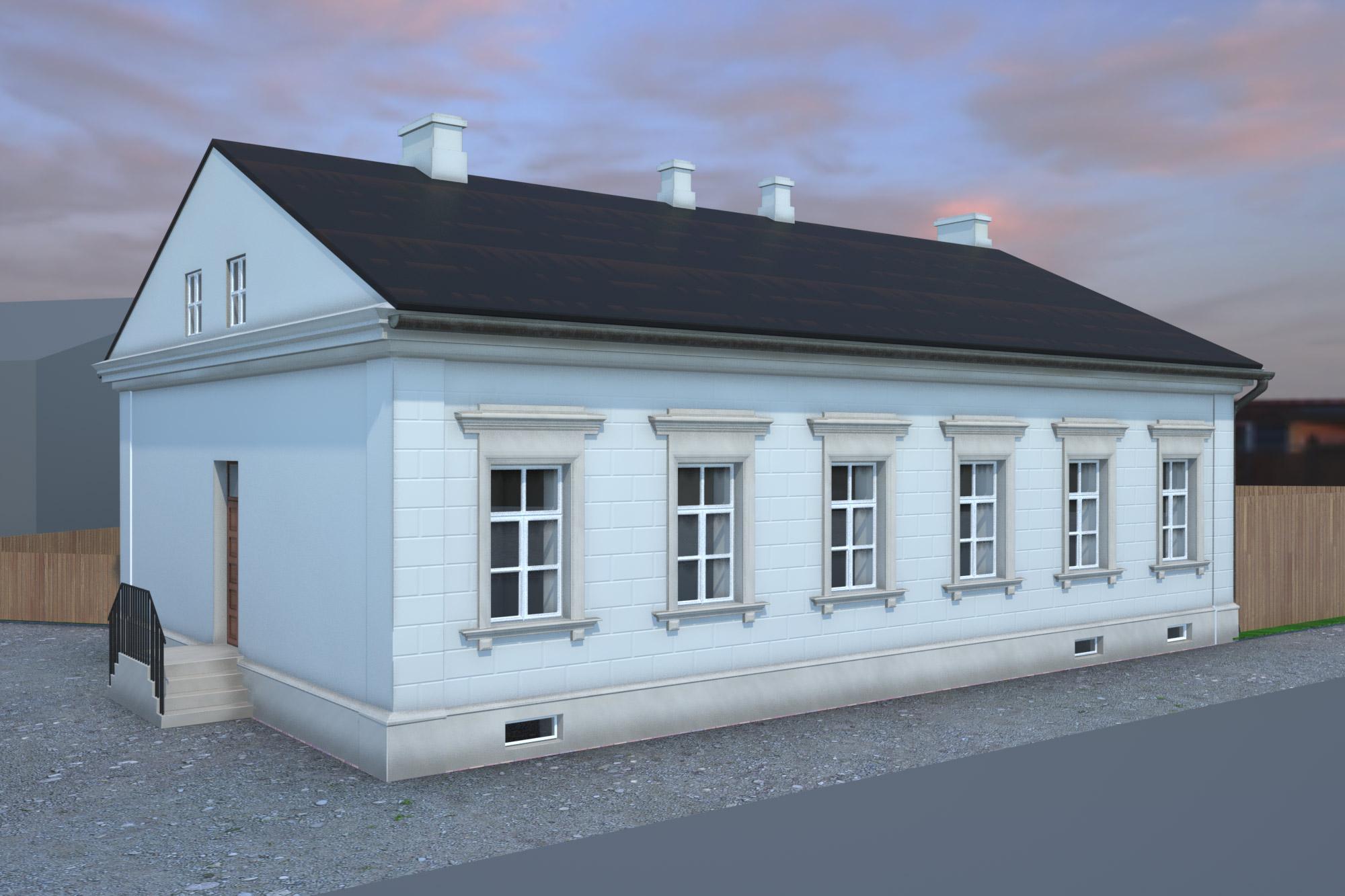 Budynek administracyjno-mieszkalny, widziany odstrony ulicy Wolność / rys. Michał Chęciński
