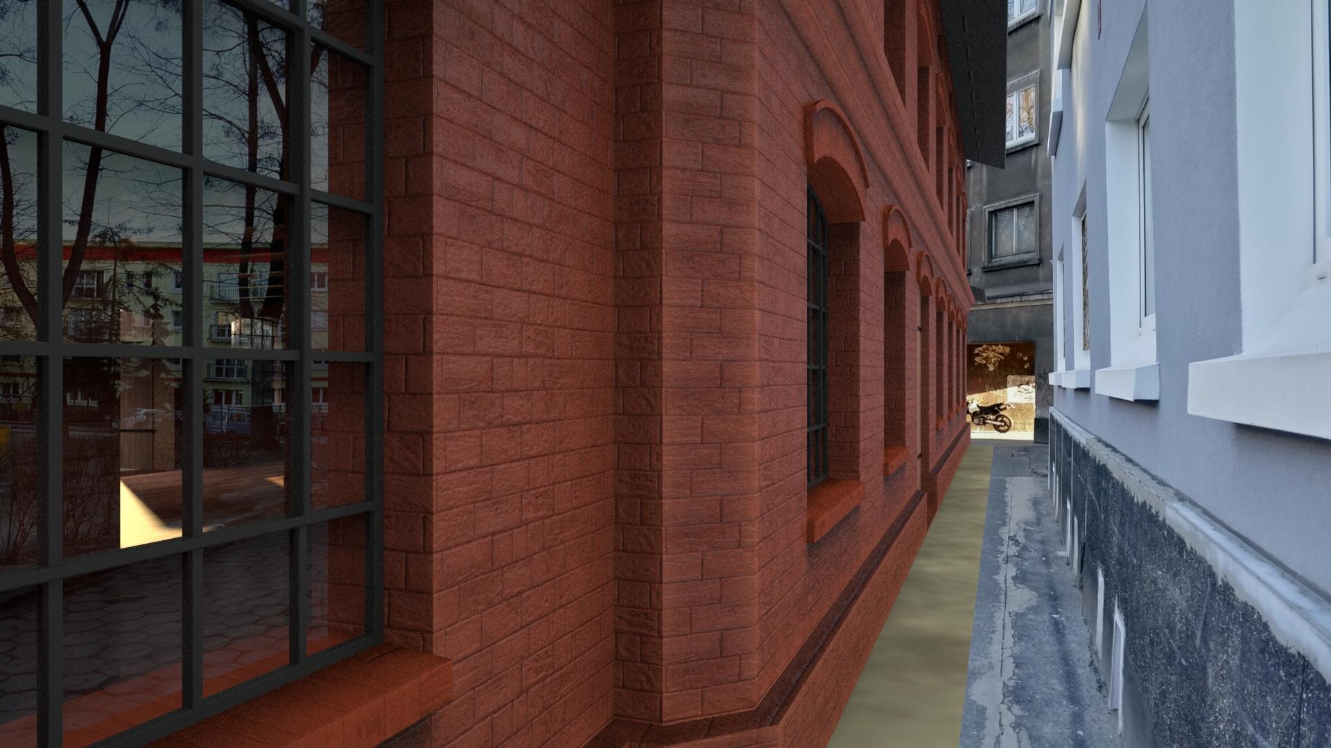 Tak wygląda budynek fabryczny natle dzisiejszej kamienicy przy Wolność 2 / rys. Michał Chęciński