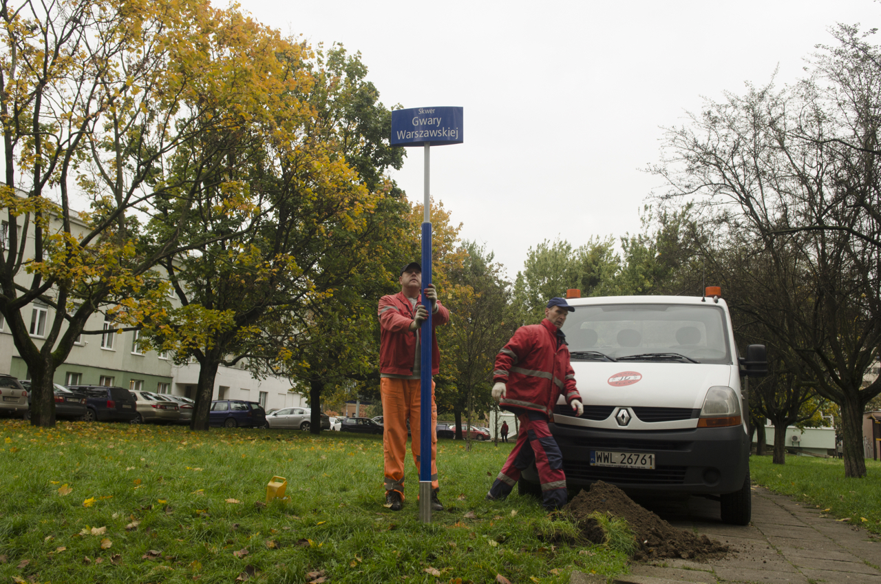 Uroczystosc nadania nazwy skwerowi Gwary Warszawskiej naWoli