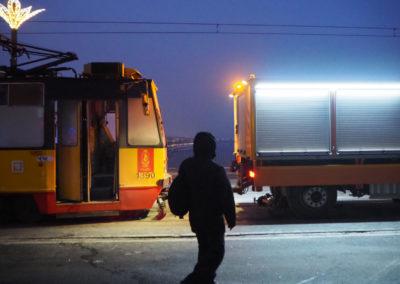 Awaria tramwaju na Moście Śląsko-Dąbrowskim