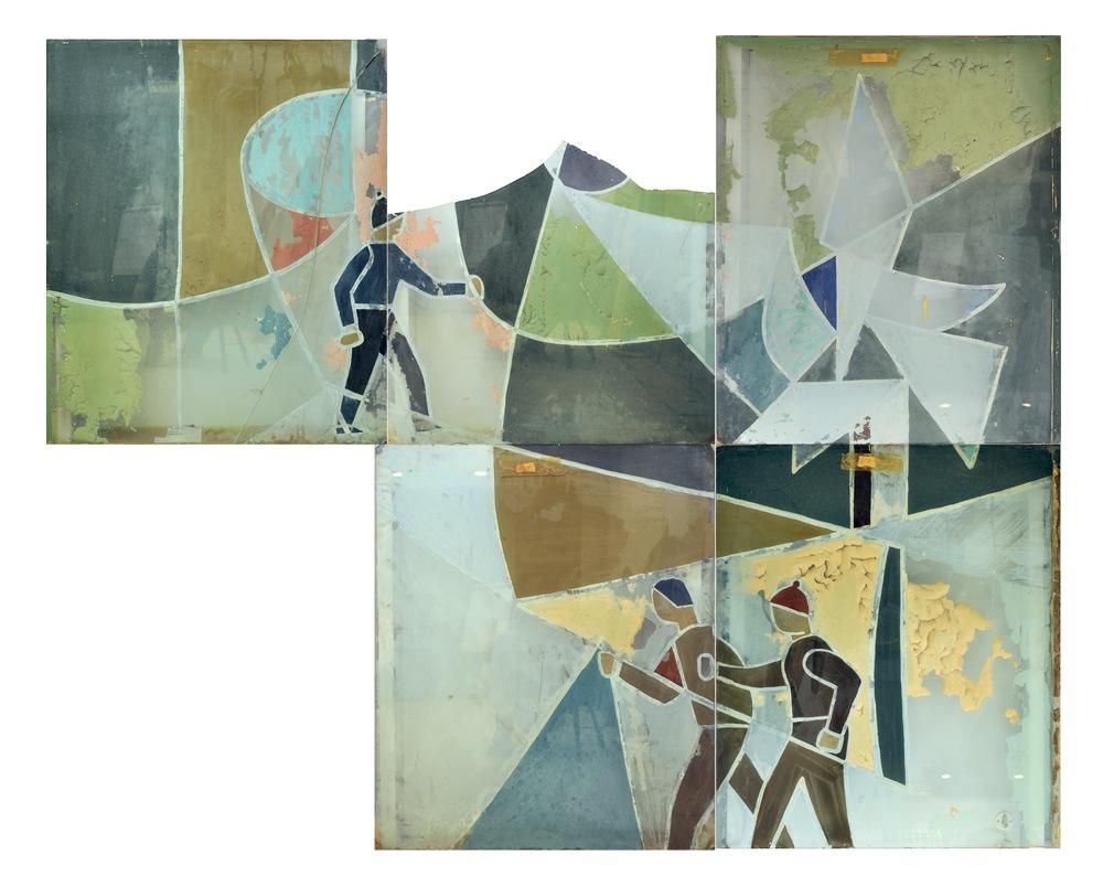 Ocalałe fragmenty malowideł Włodarskiego ułożone przezautora książki wpierowotną formę.