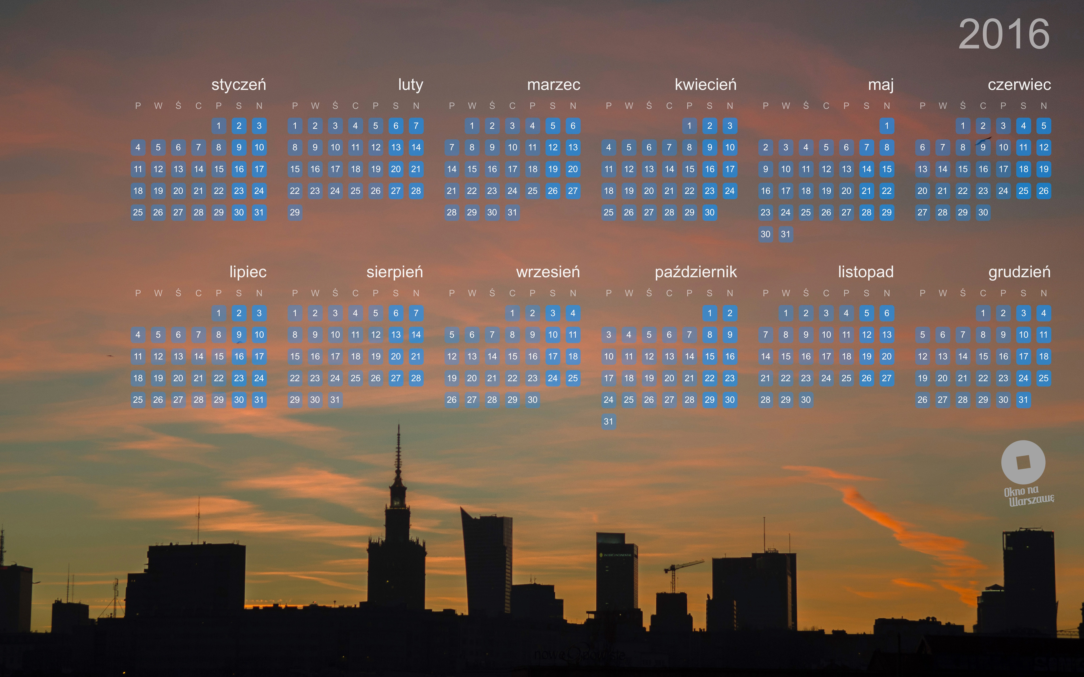Kalendarzowe tapety na2016 rok