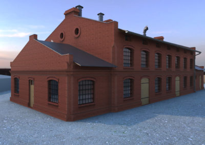 Główny budynek fabryczny / rys. MichałChęciński
