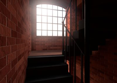 Wnętrze budynku fabrycznego / rys. MichałChęciński